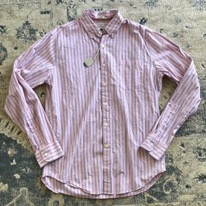 J crew button down shirt medium striped NWT pink